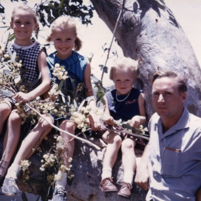 Us in a eucalypt with me next to my Dad.  - The Woolgrower's Companion